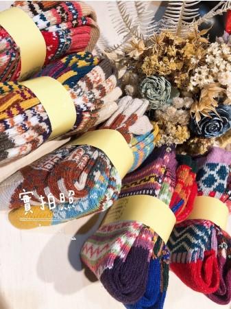 現貨►日單 tutu好心情幾何波西羊毛暖暖襪10入組