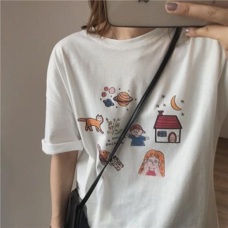 每週五收單 • 高品質純棉 女孩與貓手繪tee