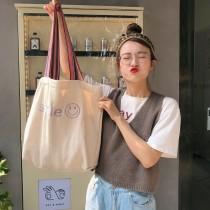 每周五收單►韓國ins笑臉刺繡大容量包