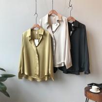 每週五收單►高貴感光澤綢緞寬鬆襯衫