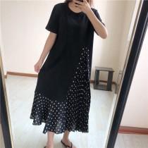 減齡雪紡拼接連衣裙