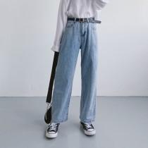 淺藍磨白薄款寬鬆牛仔褲