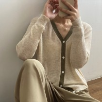 【每週五收單】2021新款 高品質撞色薄款針織開衫