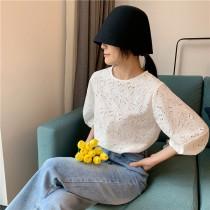 每周五收單►花朵泡泡簍空優雅氣質襯衣