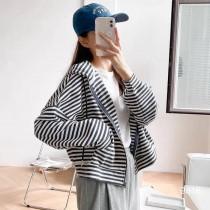 【每週五收單】韓風減齡條紋拉鏈外套